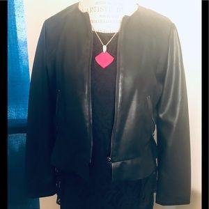 Zara Faux leather ruffle bottom crop jacket